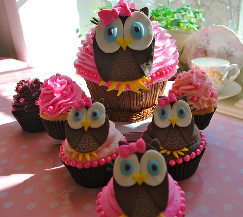1st Birthday Owl Cupcakes by DixieBelleCupcakeCafe