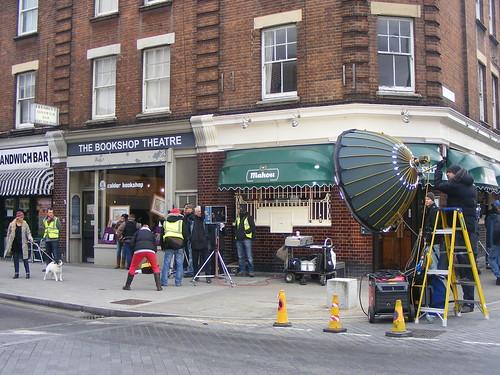 Filming a TV advert in The Cut, Waterloo