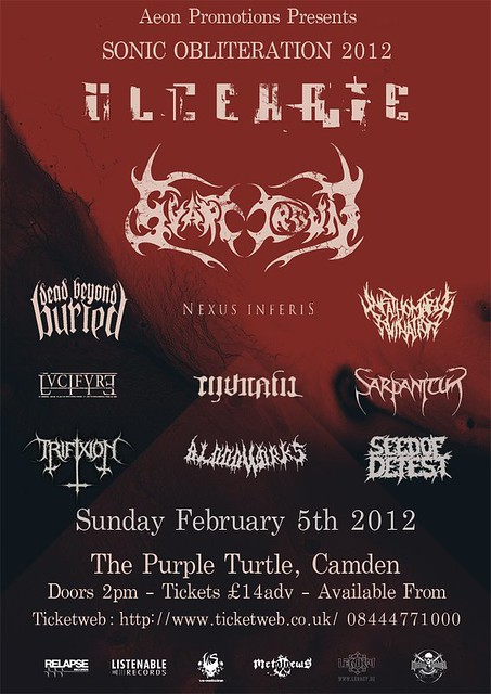 Sonic Obliteration 2012 extreme festival alldayer metal gigs gig listings metalgigs Ulcerate Svart Crown