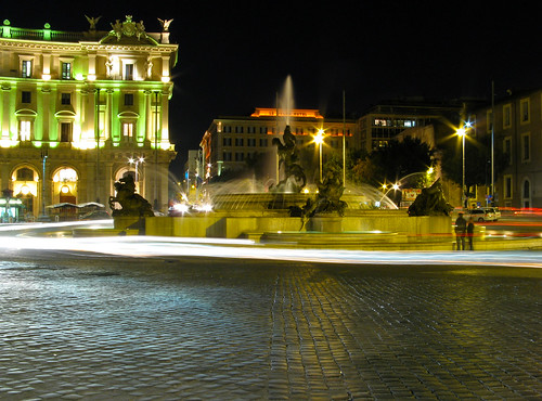 Lit up at night, the fountain in Piazza Fontana is a beautiful sight to behold