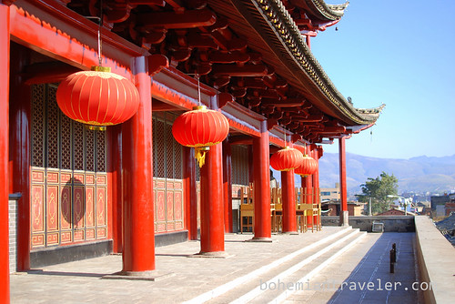 red lanterns hug at Chaoyang Gate