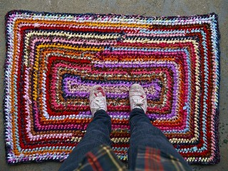 Recycled Rainbow Rag Rug