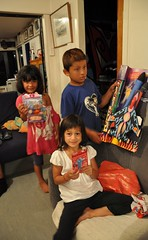 The cousins open their Xmas gifts