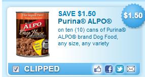 Purina Alpo Brand Dog Food, Any Size, Any Variety Coupon