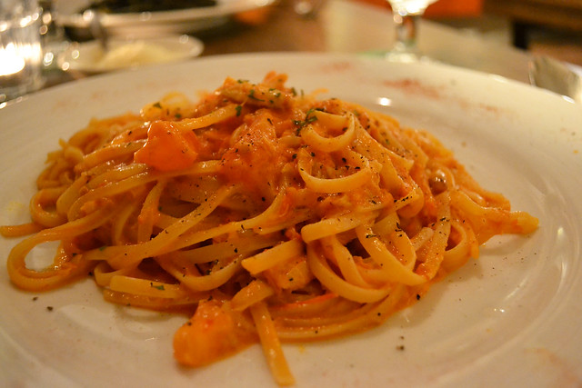 Linguine with Crabmeat in Pink Sauce, Mondo Mio