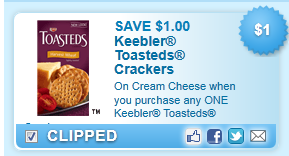 Keebler Toasteds Crackers Coupon
