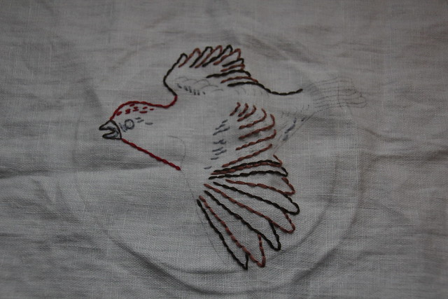 Partly Finished Embroidered Purple Finch