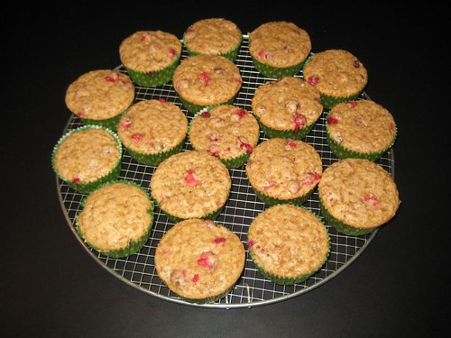 The whole batch of cranberry muffins cooling down
