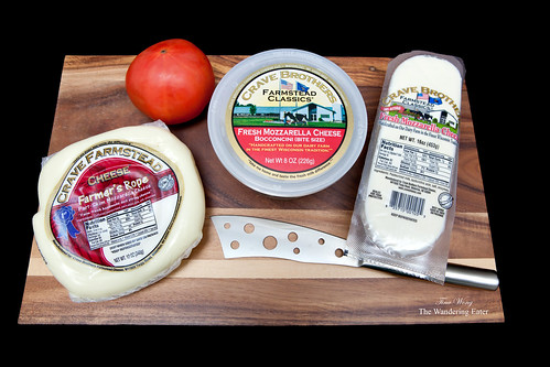 Crave Brothers Mozzarella cheeses: Farmer's Rope, bocconcini, and a log of fresh mozzarella
