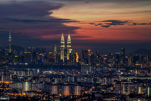 View of Kuala Lumpur Cityscape from Look Out Point at Sunset - HDR