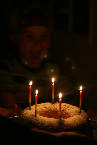 Birthday Cake for Asher, Rainbow Candles