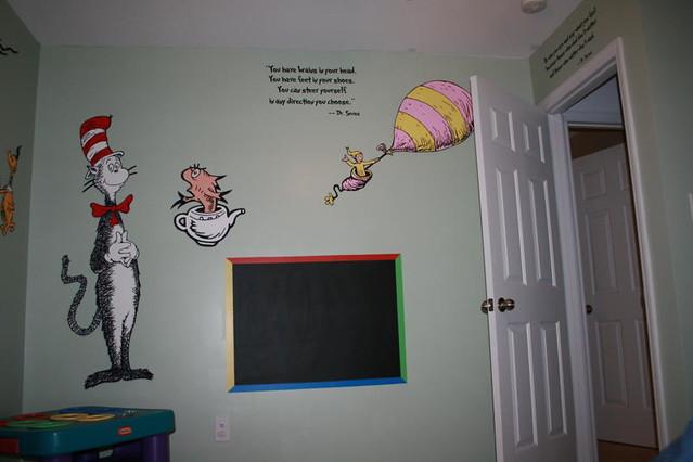 Dr seuss dr suess theme wallpaper wall paper art sticker for Dr seuss mural nursery
