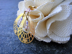 gold, crystal & glass dangle earrings, spring hoop clip on (7lx no. 14)