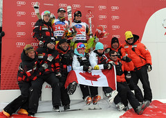 Team Canda celebrates a great of downhill ski racing in Chamonix, France.