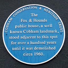 Photo of The Fox and Hounds, Cobham blue plaque