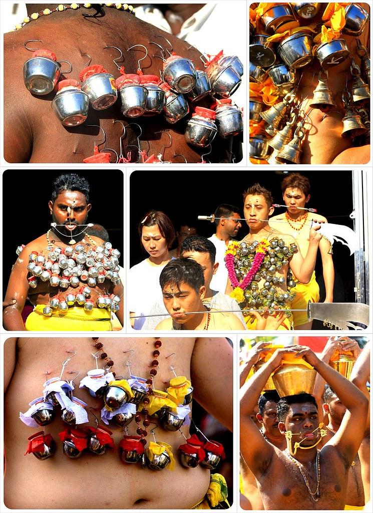thaipusam 2012 penang devotees with hooks & spears