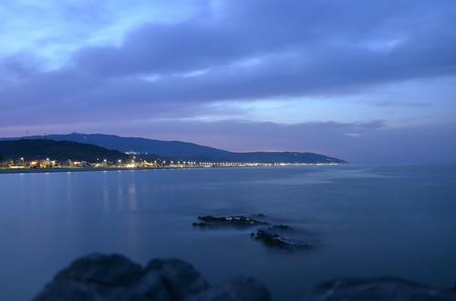 sea night cloudy slowshutter