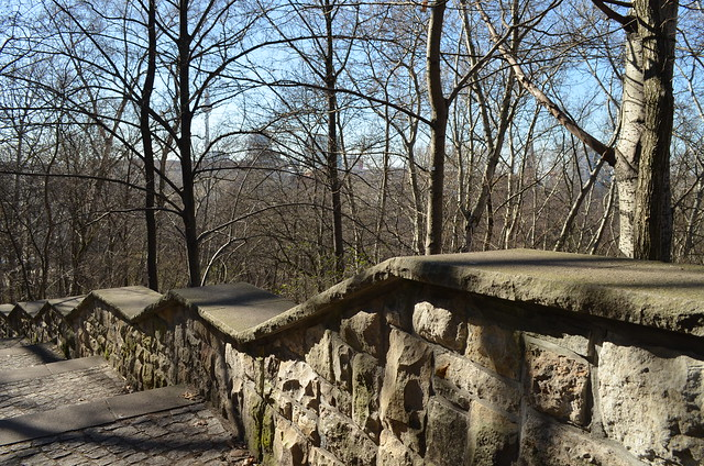 Volkspark Friedrichshain Berlin_stone steps trees and Ferensehturm tv tower view