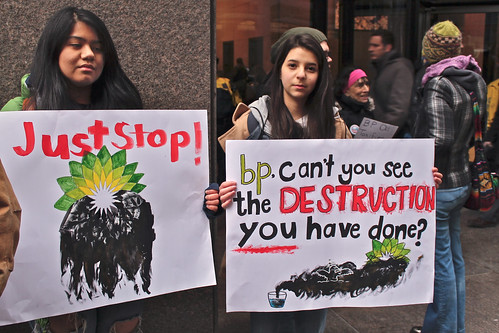 Demonstration against the BP oil spill in Lake Michigan
