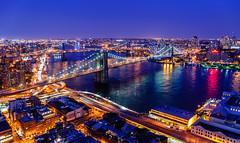 Brooklyn Bridge by Night from top of 200 Water Street - New York