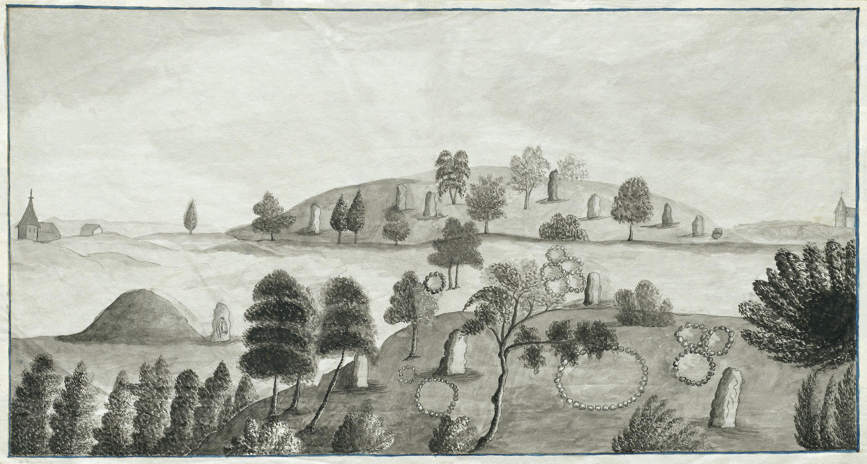 Prehistoric grave fields and a rune stone, Skatelöv, Småland, Sweden