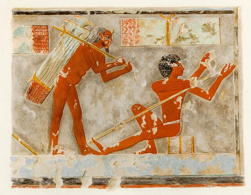 013-Pelando los tallos de papiro-The tomb of Puyemrê at Thebes 1922-1923 - Norman de Garis Davies- © Universitätsbibliothek Heidelberg