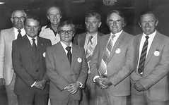 Gawler Apex Life Members 1983.  Life Members of the club who attended were:Left to right: Ivan Chamberlain, Eric Schulze, Frank White, Bob Parham, Colin Feist, Colin Smith and Rick Gordon.