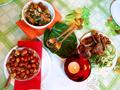 Chilli peanuts, betel leaf salad, grilled Thai sausage