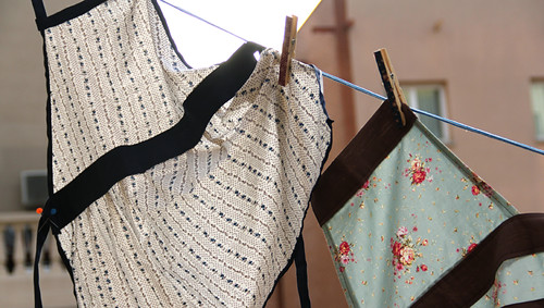 Aprons on the washing line