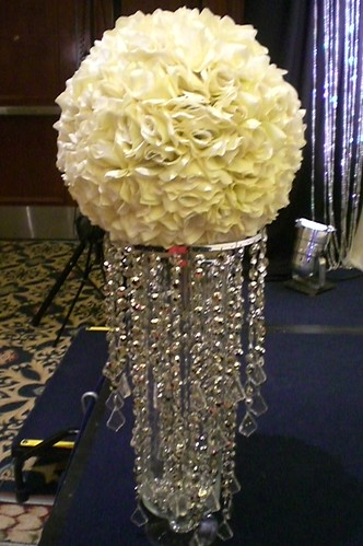 These tall crystal stands are perfect for Hotel Wedding Receptions
