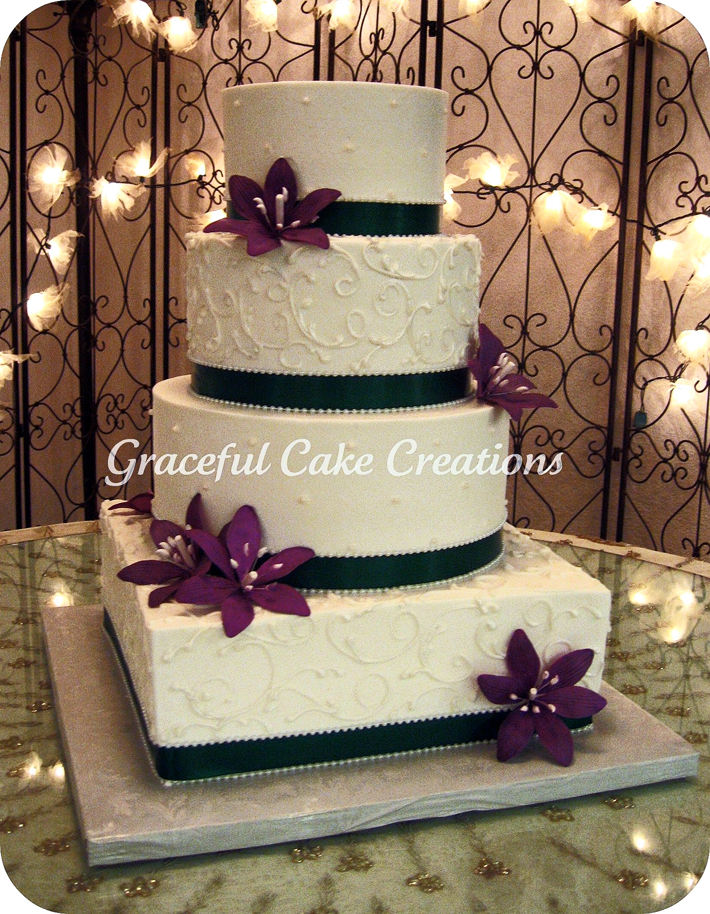 Purple And Green Wedding Cake & Becuo
