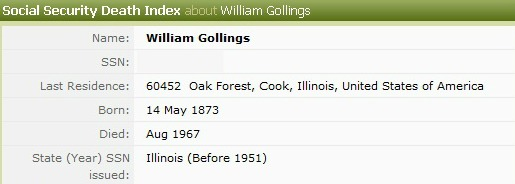 William Henry Gollings SSD