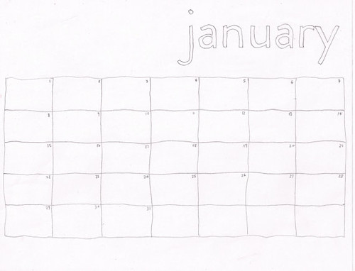 This image shows the blank calendar page for January. January is written acrosee the top right side of the page in blocky handwritten letters. The grid for the month is hand-drawn. There are numbers in each of the boxes, but no dates written across the top of the calendar grid.