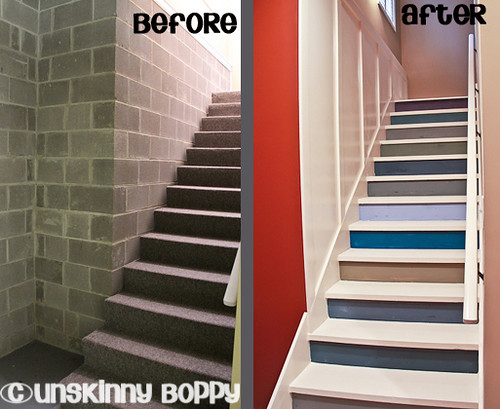 before and after painted stairs