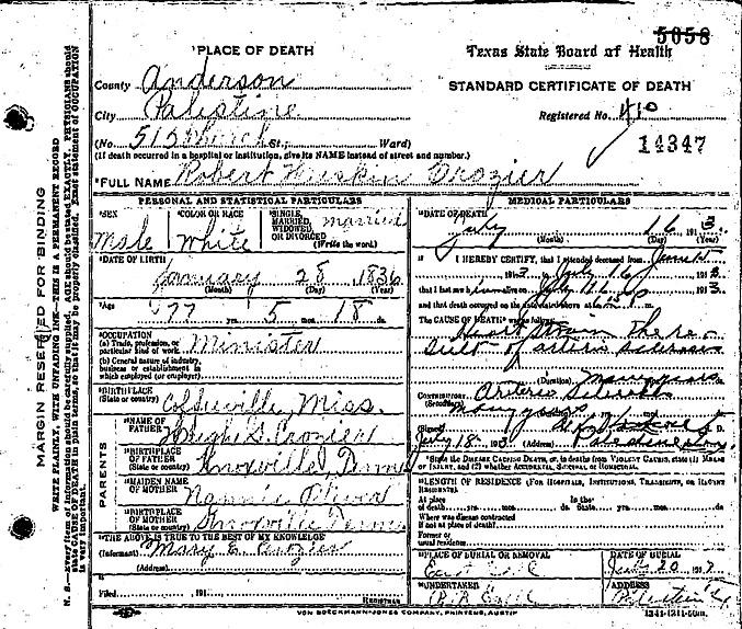 Reverend Robert Haskins Crozier, D.D. Death