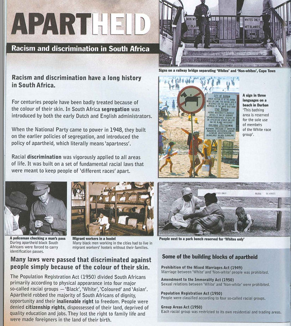 newspaper page with regards to apartheid