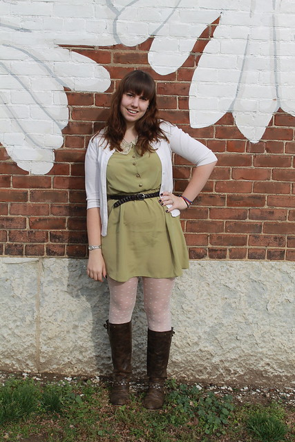 Northside outfit: pea green Urban Outfitters dress with lace collar, cardigan, leather belt, leather boots