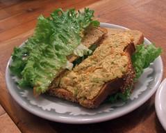 Spicy peanut tofu sandwich