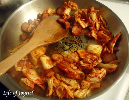 Fried Chorizo and Kimchi