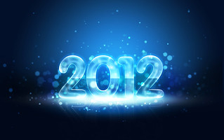 Impressive New Year 2012 card with Neon text