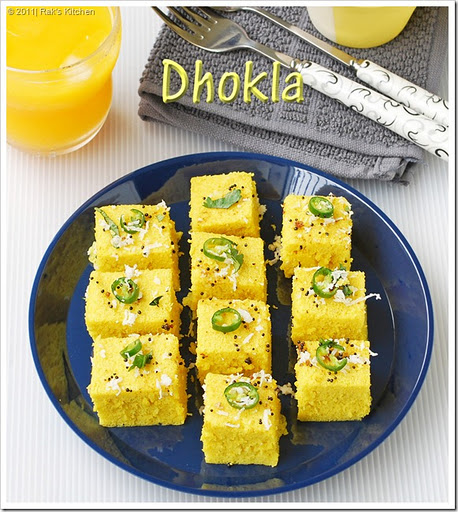 Dhokla recipe khaman dhokla recipe raks kitchen dhokla recipe a healthy snack made with besan chick peas flour which is way too easy and delicious too at last i made dhokla i wanted to make this ever forumfinder Choice Image