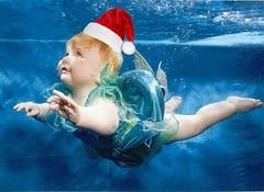 swimming in santa hat 2