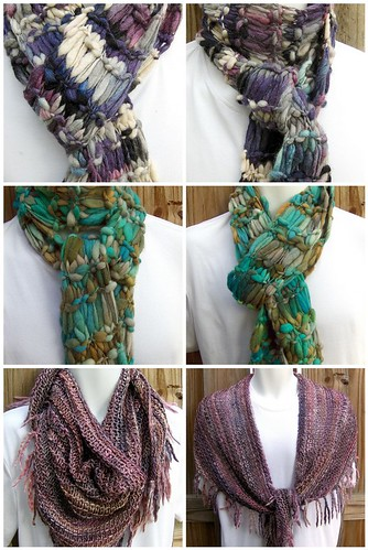 Hand Spun Hand Knit Scarves and Shawl