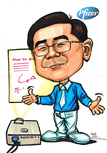 trainer caricature for Pfizer