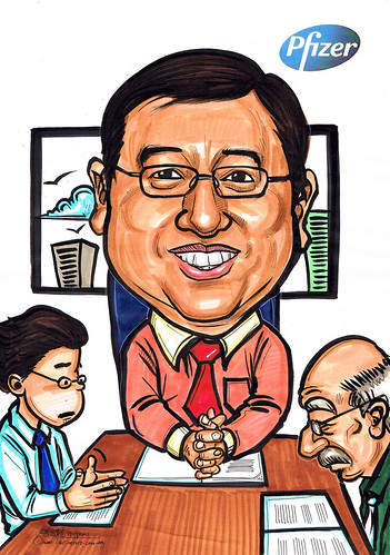 caricature for Pfizer - in a meeting