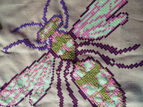 Ruby Star Spring - stitching up a bee