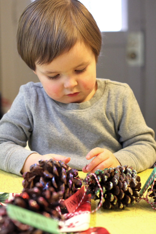 Finn Decorating his Pine Cones