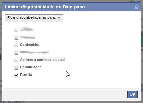 Limitar chat Facebook