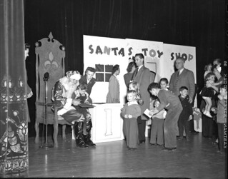 Santa and children at City Light Christmas party, 1944