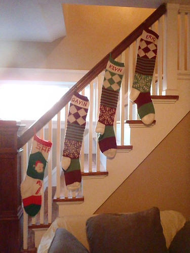 And the stockings were hung on the banister with care